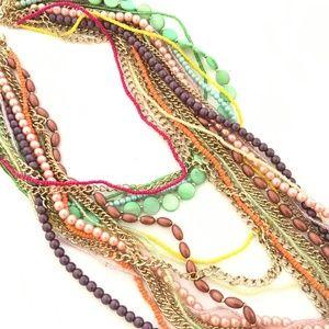 SEQUIN Layered Multi-Strand Festival Bead Necklace